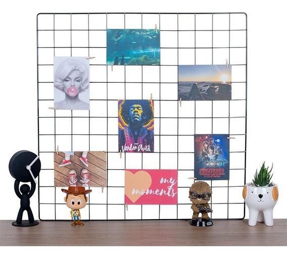 Memory Board 60x60 Preto Mural De Fotos Gratis Prendedor