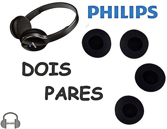 2 Pares - Espumas De Reposição Headphone Philips Shb4000