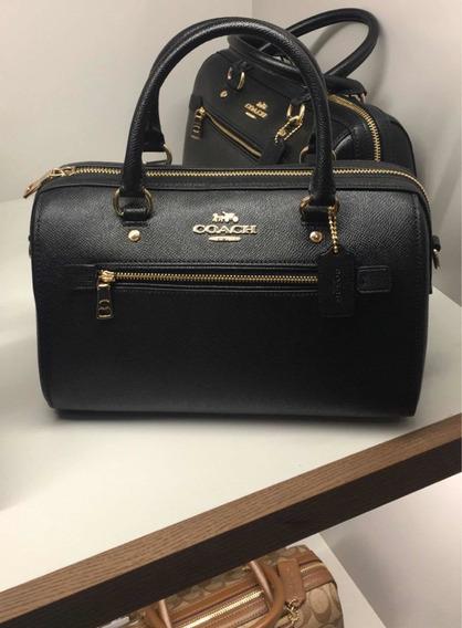 Bolsa Coach Rowan Black Leather Satchel Original Prta Entreg