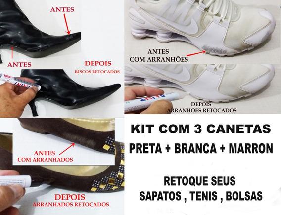 Caneta Tira Riscos De Botas-sapatos-tênis-bolsa Kit 3 Core S