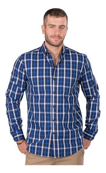 Camisa Hombre Cuadros Casual Slim Fit Algodon Moda Vestir