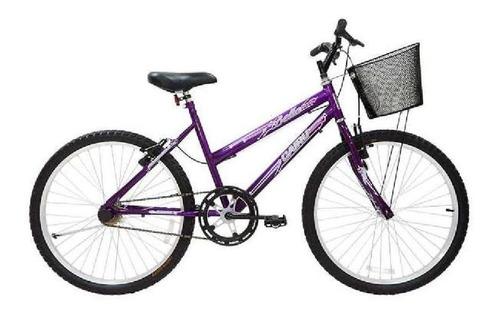 Imagem 1 de 1 de Bicicleta Cairu 24 Feminina Bella Violeta C/ Cesta