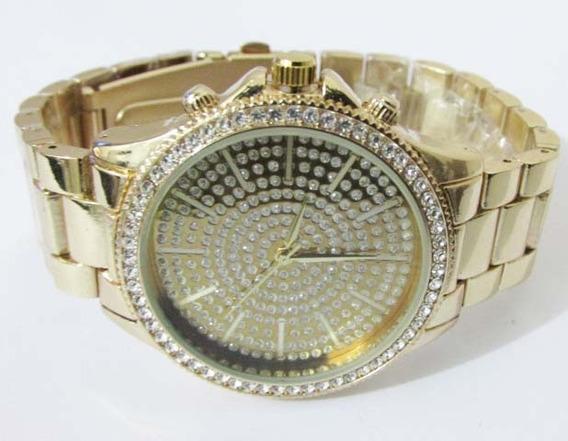 Relógio Dourado Bling Bling Com Pedras Frete Grátis