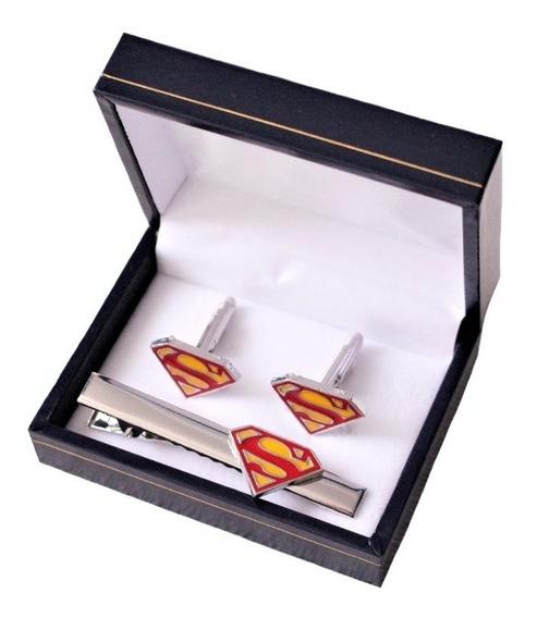 Set Colleras (gemelos) + Prendedor Superman 100% Acero