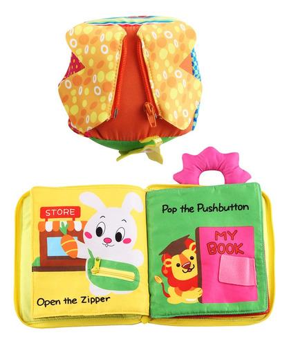 Imagen 1 de 6 de Juguete Montessori Cubo De Vestir Con Libro De Tela Suave