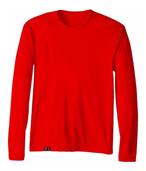 Camiseta Unissex Proteção Solar Sol Uv Fator 50 Vermelho