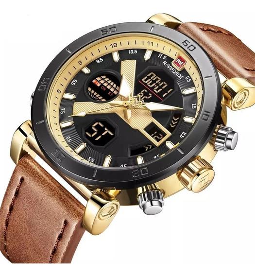 Relógio Masculino Militar Esportivo Pulseira Couro Original