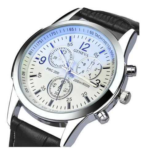 Reloj Casual Hombre Cuero - Color Negro Blanco