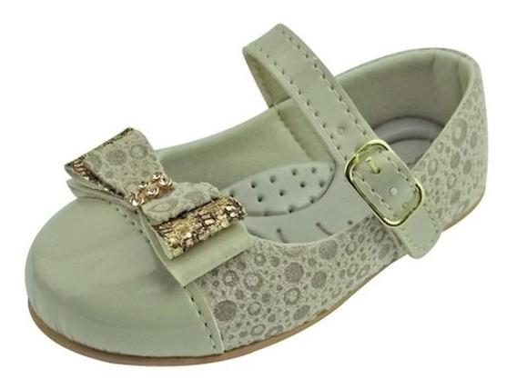 Sapato Boneca Baby Com Laço E Strass - Bege