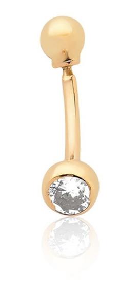 Piercing De Umbigo De Bolinha E Pedrinha Ouro 18k