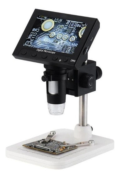 Microscópio Digital Lupa Zoom 1000x F4.5 Dm4 4.3 Lcd 8 Leds