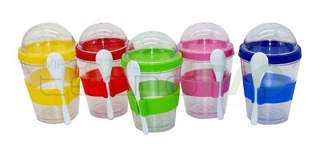 X10 Vaso Para Yogurt Cereal Fruta 350ml + Cuchara Ml2055