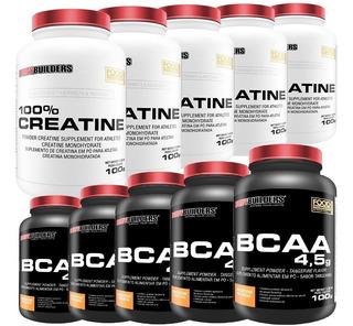 Kit 5x Bcaa 100g + 5x Creatina 100g - Bodybuilders