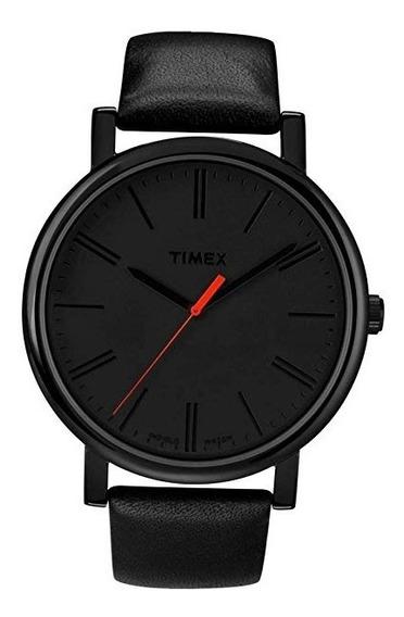 Reloj De Fácil Lectura Timex T2n794, Con Correa De Cuero Neg