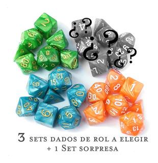 3 Sets C/7 Dados Rol A Elegir +1 Set Sorpresa D&d Pathfinder