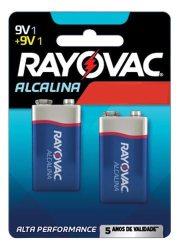 Imagem 1 de 2 de Pilha 9V Rayovac Alcalina 9V Retangular  - 2 Kit