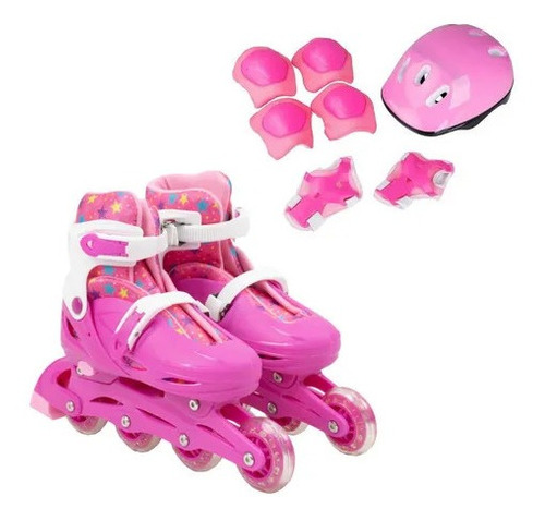 Patins Roller 4 Rodas Infantil Ajustavel Menina 35 Ao 38