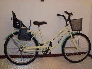Bicicleta Paseo Dama Rodado 26 Con Sillita Para Chicos