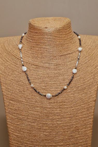 Collar Gargantilla Cristal Perla Plana