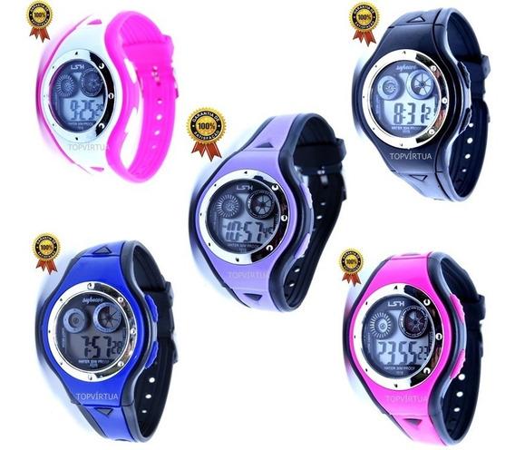 Kit 5 Relógios Digital Infantil Original Luz Alarme S.gshock