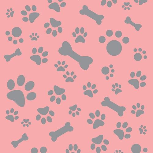Imagem 1 de 1 de Papel De Parede Animais Patinhas E Pets Cinza E Rosa 3mt