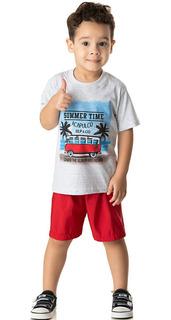 Roupa Bebê Menino Conjunto Camiseta Malha E Bermuda Tactel