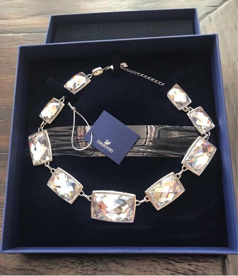 Collar Swarovski Con 9 Cristalea, Baño De Rodio