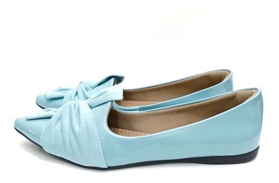 Sapatilha Bico Fino Laço Azul Tiffany Confortavel