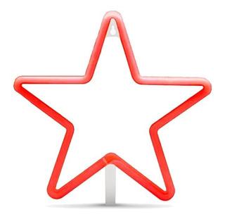 Lampara Neon Luz Led Luminoso Estrella Roja Usb O Pilas