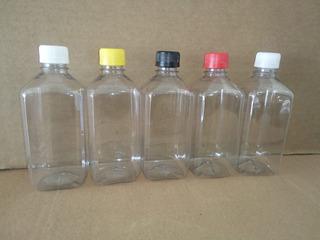 Botella Plastico (pet) Cuadrada 500ml Con Tapa (200pzs)