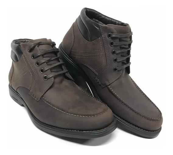 Bota Sapato Casual Social Masculino Anatomic Gel Couro Legitimo Marrom - Conforto E Durabilidade Máxima!