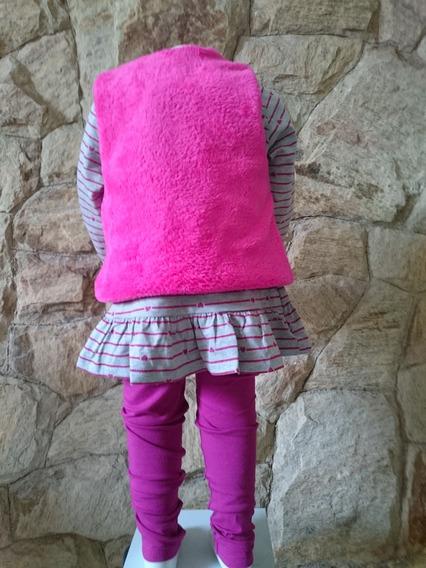 Conjunto Infantil Camiseta, Calça E Colete Panda Tam 1,2,3