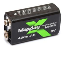 Bateria 9v 400 Mah Ni-mh Recarregável Até 1000 Recarga