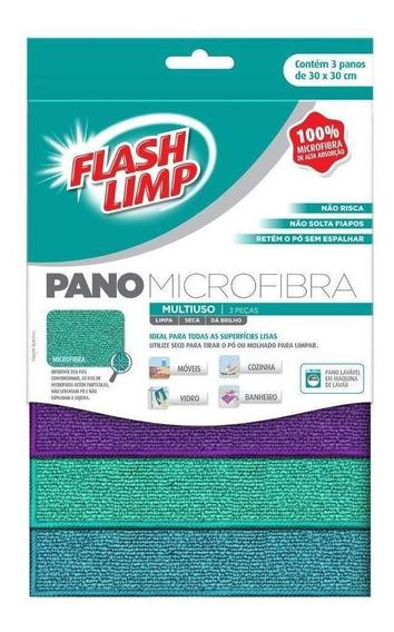 Pano Multiuso Microfibra Com 3 Panos Flash Limp Flp 6742