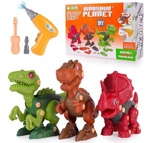 Imagen 1 de 10 de 3 Pzas Juguete Dinosaurios Para Niños Con Taladro Electrico