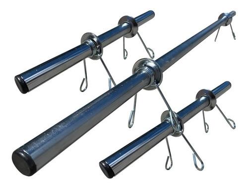 Imagem 1 de 7 de Kit Barras Ocas 1,20m E 2 De 40cm Cromadas Halteres E Supino