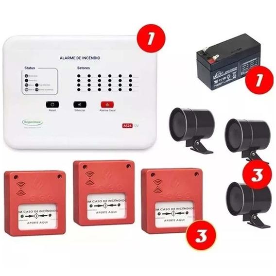 Kit Central Alarme Incêndio 6 Setor + 3 Acionador + 3 Sirene