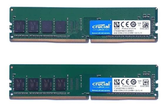 Memória 8gb 2x4gb Ddr4 Crucial 2133mhz Cl15 Desktop Ram