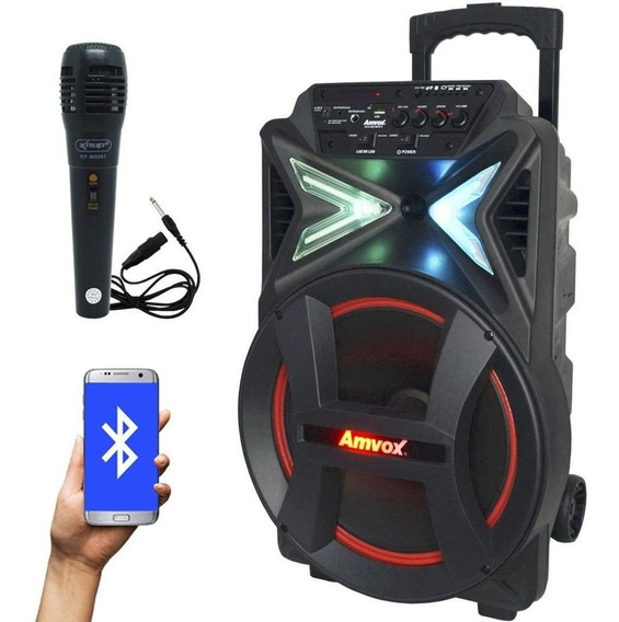 Caixa Som Portátil Amplificada 290w Bluetooth + 1 Microfone