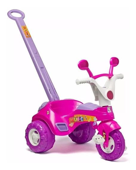 Triciclo Infantil C/ Empurrador Som Motoca Carrinho Cotiplas