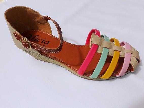 Sandalia Anabela Infantil Garota Fashion Tiras Coloridas
