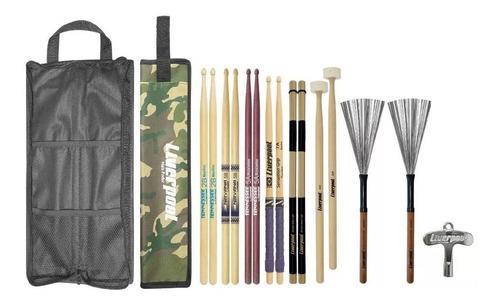 Kit Bag + Baquetas Variadas Linha Profissional Liverpool