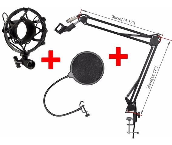 Suporte Articulado,haste Flex Microfone+cabo Xlr+shock+pop