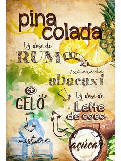 Placa - Quadro - Decorativo - Receita Pina Colada - (v342)