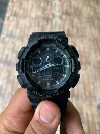 Relógio G-shock Ga-100l Preto/verde Original