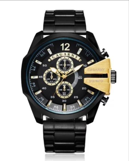 Relógio Masculino Cagarny Luxo Original Aço Inoxidável