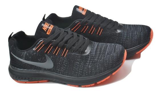 Kp3 Zapatos Damas Caballeros Nike Air Zoom 2 Negro Naranja