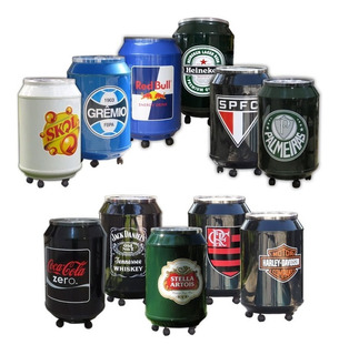 Cooler Termico Para 80 Latas E Com Rodinhas Várias Opções De Adesivos Cerveja Bebida Refrigerante Time