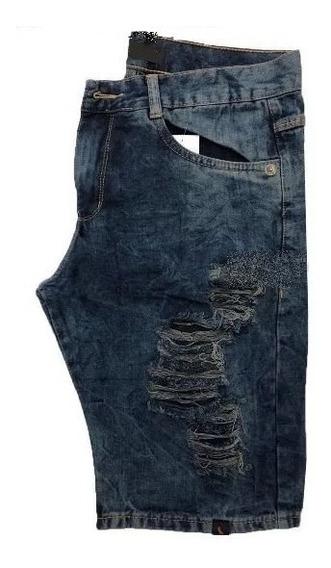 Bermudas Jeans Rasgada Desfiada Lançamento Da Moda