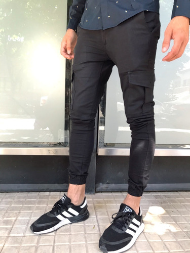 Hermosos Pantalones Jogger Cargo Negro Hombre Del 38 Al 48 Mercado Libre